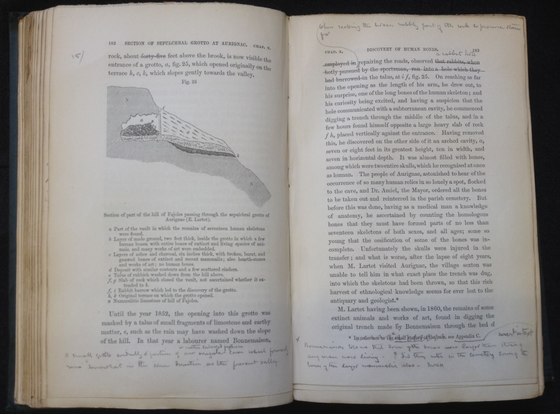 B: Some of Charles Lyell's handwritten edits in a third edition of 'Antiquity of Man'. (Image: Victoria Ling 2014. Book: Department of Earth Sciences, University of Cambridge)