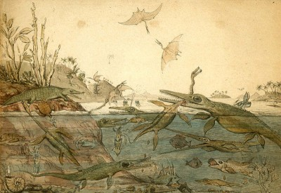 Duria Antiquior (1830), a watercolour by the geologist Henry de la Beche which depicts life in ancient Dorset based on fossils found by Mary Anning (Image: Wikimedia Commons)