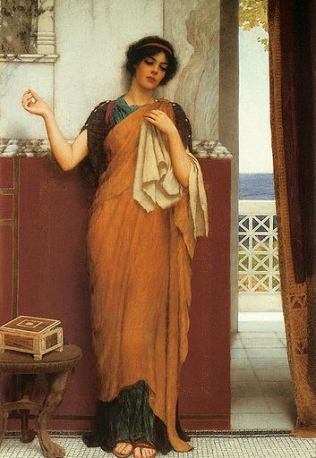 'Idle thoughts' by John Willam Godward, 1898; Leicester Museum and Art Gallery.  Human language makes possible an internal 'self-talk' (Image: Wikimedia Commons)