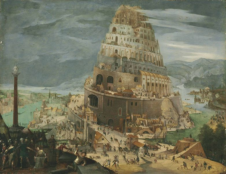 'Construction of the Tower of Babel' (painted 1604 by Abel Grimmer).  The tower of Babel is the focus of a story from the book of Genesis (from the Jewish scriptures and Christian Old Testament).  According to this story, the people of earth sought to 'make a name for themselves' by building a great city with a tower right up to heaven.  Their God considered this as giving the people too much power, so inflicted a 'confusion of tongues' upon them, thanks to which they began to speak different languages and scattered across the earth (Image: Wikimedia Commons)