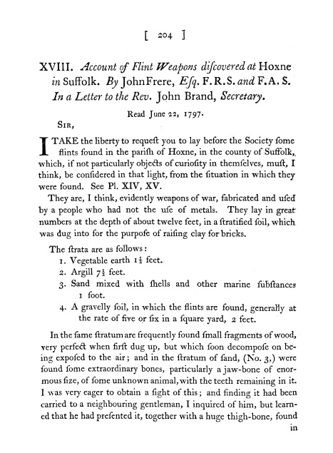 "The first page of John Frere's seminal publication ""Account of Flint Weapons Discovered at Hoxne in Suffolk"" in the journal Archeologia in 1800 (Image: Reproduced with the kind permission of the Society of Antiquaries of London)"