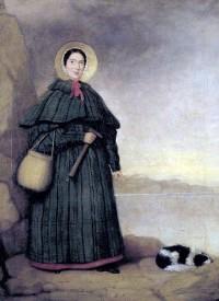 صورة لماري آننغ مع كلبها (ترَي). لا يُعرف سوى القليل عن الفنان الذي رسم هذه الصورة التي يشير (كريسبين تيكل) في كتابه Mary Anning of Lyme Regis (ماري آننغ من لايم ريجيس) (1996) إلى أن شخصاً يدعى السيد (غري) هو من رسمها (الصورة من ويكيميديا كومنز)