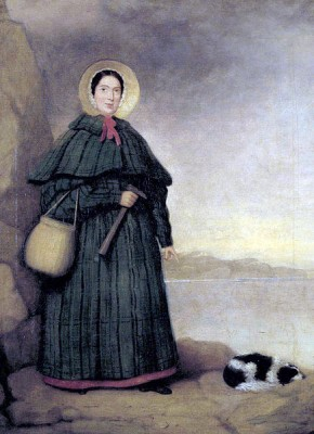 Portrait of Mary Anning with her dog 'Tray'. Little is known about the artist of this portrait which in Crispin Tickell's book Mary Anning of Lyme Regis (1996) is attributed to a 'Mr Grey' (Image via Wikimedia Commons).