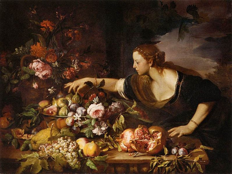 Woman Grasping Fruit' by Abraham Brueghel, 1669; Louvre, Paris.  The precision control of the grasping gesture she uses to pluck a fig from the fruit bowl is unique to humans.  The intensity of her expression implies many layers of meaning to what we understand from this picture (Image: Wikimedia Commons)