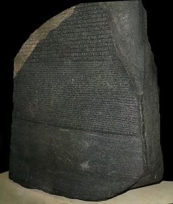 Any communication, whether written or spoken, codes information and meaning which must be understood by both the sender and receiver of the message.   The Rosetta Stone, originally from an ancient Egyptian temple (~196BC) shows parallel texts in ancient Egyptian, Demotic (an ancient language from the Nile Delta) and ancient Greek.  This 'cipher' enabled scholars to decode and translate ancient Egyptian hieroglyphs (Image: Wikimedia Commons)