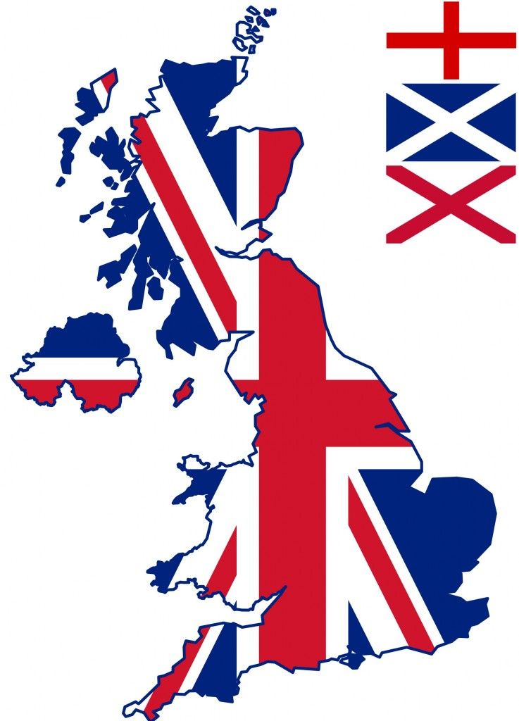 The 'Union Jack', a symbol of Great Britain since the union of Great Britain and Ireland in 1801.  It is made up of three other flag symbols; the Cross of St George for England (insert, top), St Andrew's Saltaire for Scotland (centre), and for Northern Ireland, St Patricks Saltire (below) (Image: Wikimedia Commons)