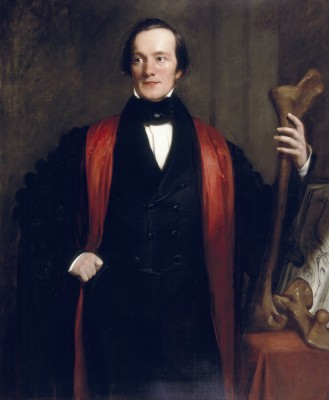 Oil painting of Richard Owen painted in 1844 by Henry William Pickersgill. In the portrait Owen holds the leg bone of a moa, and is wearing robes of Professor of Comparative Anatomy at the Royal College of Surgeons (Image: © The Trustees of the Natural History Museum, London. Used with permission)