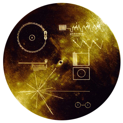 The NASA 'Voyager 1' space probe, launched in 1977, is now approaching the outer reaches of our solar system.  On board, a gramophone record provides a selection of natural and man-made sounds from earth.  These include music from different genres and greetings to the Universe in 55 of earth's different languages.  The cover, shown here, indicates how to play the recording (Image: Wikimedia Commons).  To listen to the earth sounds sent into space, click here.