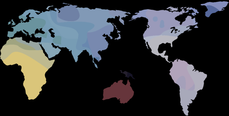 This map (by Luigi Luca Cavalli-Sforza, 1994) shows the generalised genetic relationships between human populations worldwide.  Chomsky's approach to language infers that our linguistic diversity is like our genetic diversity.   Genetic differences can appear vast, but we are one interbreeding population and at the level of our genes, we are much more alike than we are unalike (Image: Wikimedia Commons)