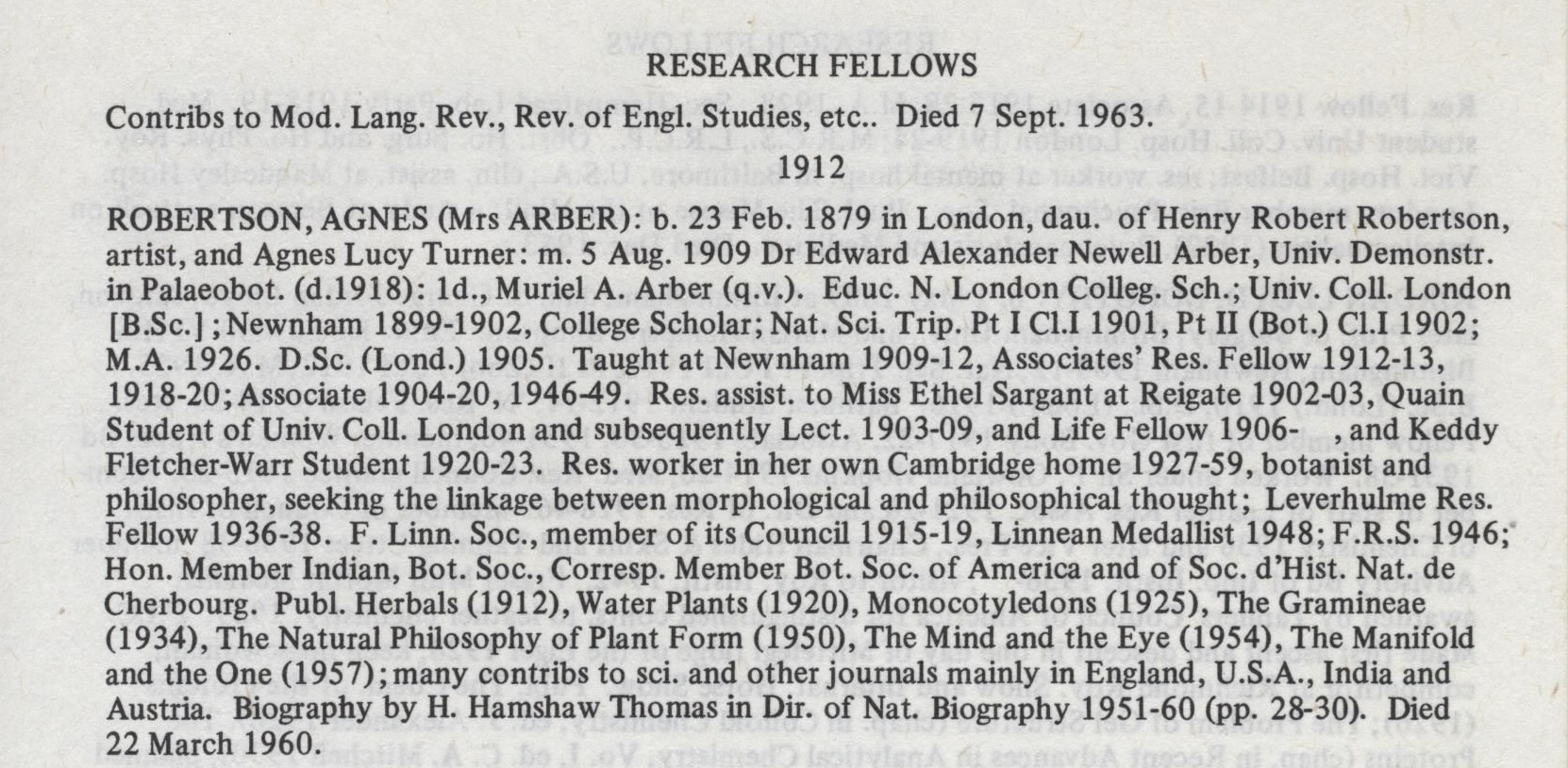 Agnes Arber's entry from the printed College register of Newnham College, Cambridge (Image: Used with permission from Newnham College, University of Cambridge)