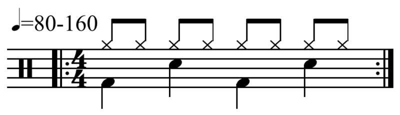 Basic 'rock' drum rhythm pattern, notated for bass, snare and cymbal.  Listen to this being played here. Rhythm is a basic component of the music of our speech, and in English this rhythm often has priority over other factors in the way we pronounce words.  For example, we typically pronounce the word thirteen as 'thir-TEEN', with stress on the second syllable.  If this word comes ahead of another word with stress on the first syllable, such as 'WO-men', we pronounce this 'THIR-teen WOmen'.  This shift in the stress peak maintains a 'beat, offbeat, beat, offbeat' rhythm pattern in our speech, similar to this rock drum riff.