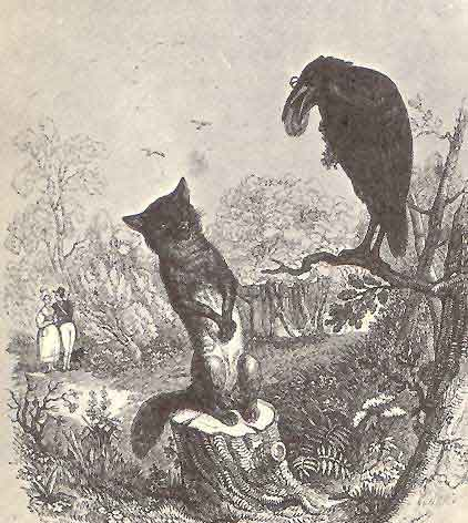 "Illustration by Grandville (1803-1847) for one of the Fables of Aesop.   This is one of a number of tales credited to Aesop, a slave and story-teller believed to have lived in Ancient Greece between 620 and 560 BCE.  These cautionary tales use metaphors of unbelievable scenarios (here a fox and a crow having a conversation) to code much bigger meanings.  This tale cautions about being susceptible to flattery.   A fox was walking through the forest when he saw a crow sitting on a tree branch with a fine piece of cheese in her beak. The fox wanted the cheese and decided he would be clever enough to outwit the bird.       ""What a noble and gracious bird I see in the tree!"" proclaimed the fox, ""What exquisite beauty! What fair plumage! If her voice is as lovely as her beauty, she would no doubt be the jewel of all birds.""      The crow was so flattered by all this talk that she opened her beak and gave a cry to show the fox her voice.      ""Caw! Caw!"" she cried, as the cheese dropped to the ground for the fox to grab (Image: Wikimedia Commons)"