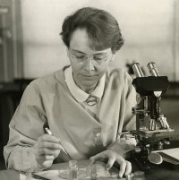 Barbara McClintock in her laboratory in 1947. (Image from the Smithsonian Institution collection via Wikimedia Commons)