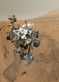 The coolest selfie of all time! On 31 October 2012 NASA's Curiosity rover used the Mars Hand Lens Imager (MAHLI) to capture this set of 55 high-resolution images, which were stitched together to create this full-colour self-portrait. The arm is not visible because it was out of shot in the images used to make up this mosaic (Image: NASA/JPL-Caltech/Malin Space Science Systems via Wikimedia Commons)
