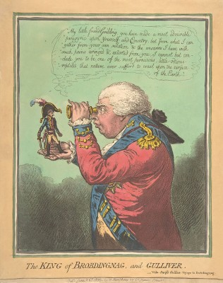 Illustration dating to 1803 by the English caricaturist James Gillray. It depicts King George III holding a miniature Napoléon Bonaparte  (Image: Wikimedia Commons)