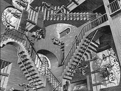 'Relativity'; a lithograph by Dutch artist M.C. Escher (1953). As we look at different parts of this picture, our mind makes sense of the 'local' spatial dimensions.  We struggle however to integrate the whole scene into the same perspective (Image: Wikimedia commons)