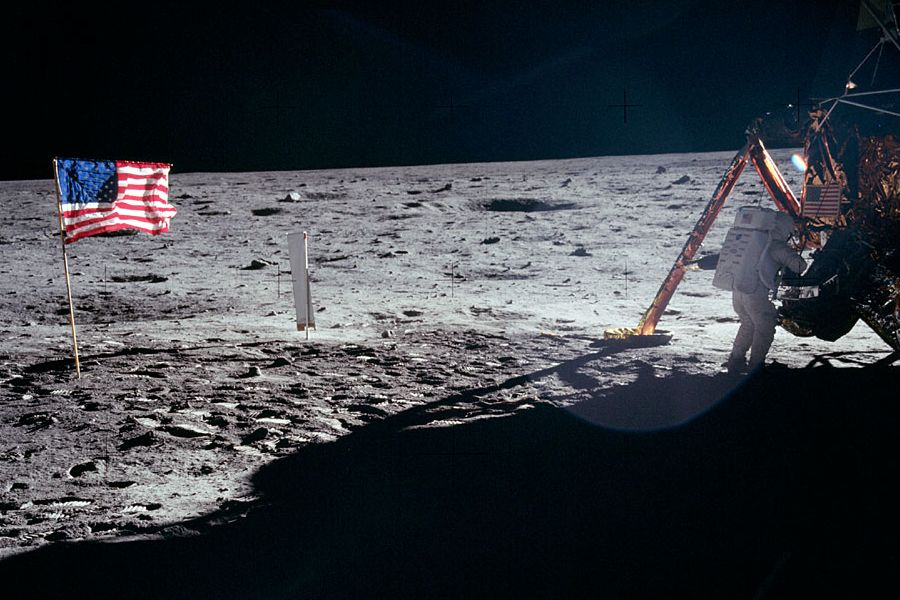 Neil Armstrong, first man on the moon, works on the Apollo 11 Lunar Module, after a safe landing in the 'Sea of Tranquility'.  This is the only photograph taken of him on the moon's surface (Image: NASA)