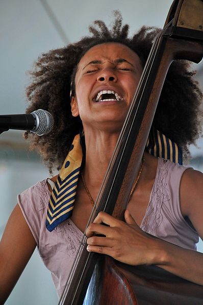 Intense emotion in the face of musician Esperanza Spalding; Newport Jazz festival, 2008. Humans explore and express their emotions through many creative forms including words, poetry, music and dance (Ben Alman/Wikimedia Commons)